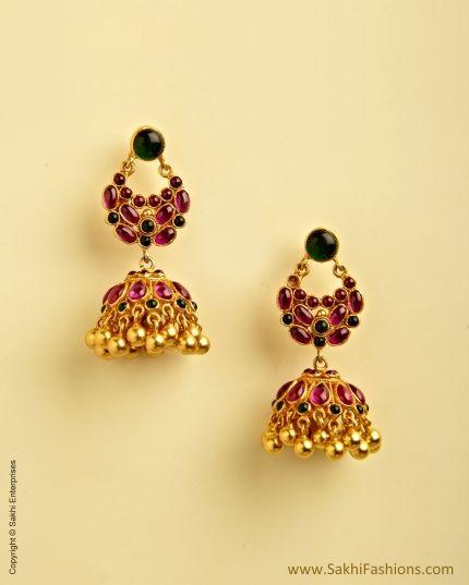 Pink Pure Silver & Gold Bali Jumka