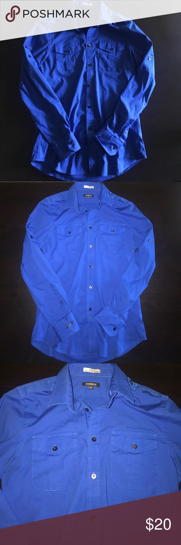 Express men's royal blue button down Royal blue express men's button down. It's a Fitted shirt with a stretchy material to it so it's very form fitting. It's been worn a bit but overall the shirt is in pretty good condition. No snags tears or stains to the fabric!! Express Shirts Dress Shirts