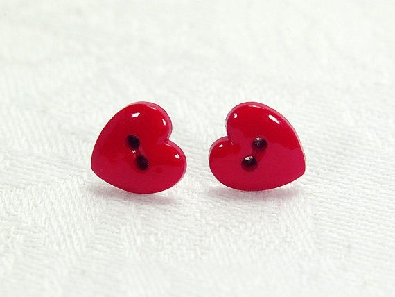 Red heart button stud earrings with silver-plated posts by FfigysDesigns