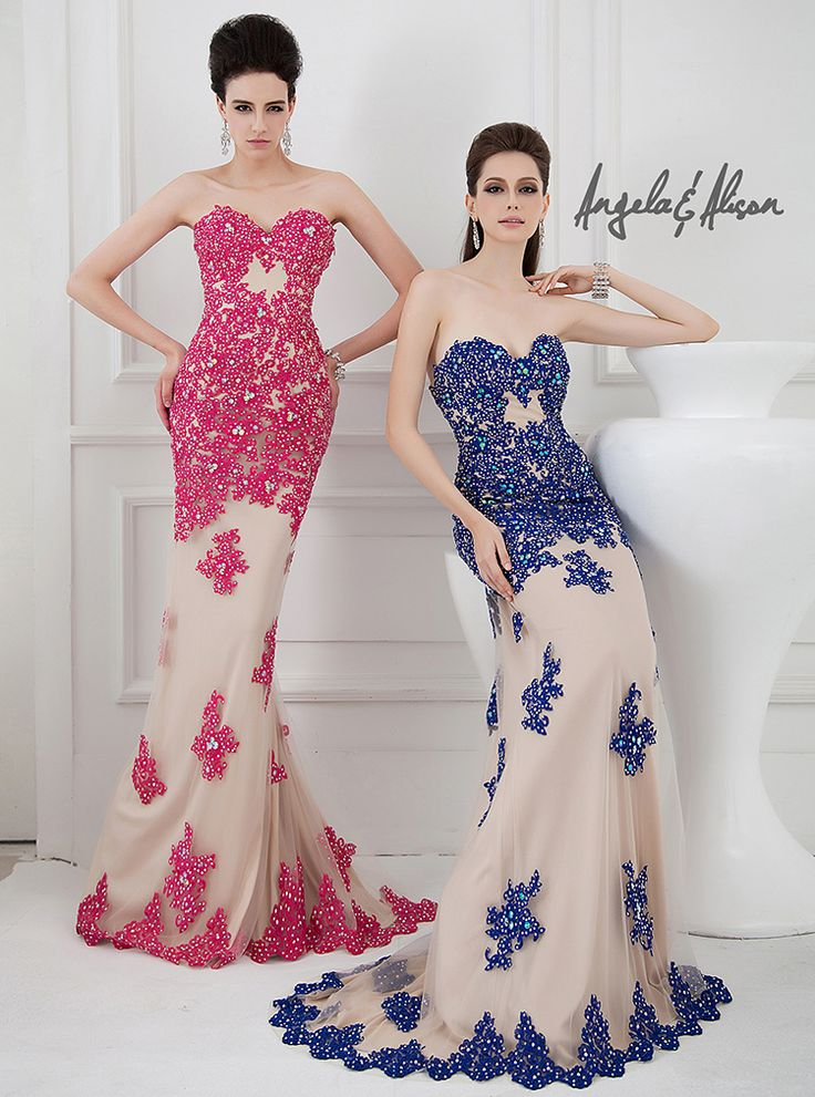 Style 41002 Sweetheart neckline, colourful lace overlay and nude under lay. Prom, Homecoming, Gala, Wedding, Formal, Graduation, Ball... etc.