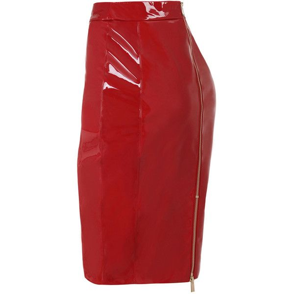 'Castalia' Bright Red Patent Leatherette Pencil Skirt ❤ liked on Polyvore featuring skirts, bright skirts, knee length skirts, pleather skirt, patent leather skirt and knee length pencil skirt