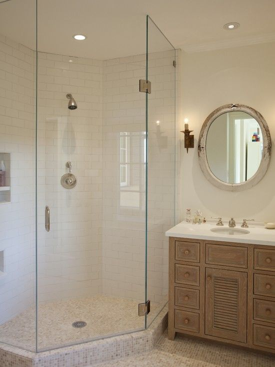Attractive Frameless Shower Cubicle For Your Stunning Looking Bathroom : Rustic Bathroom With Corner Shower Door Glass