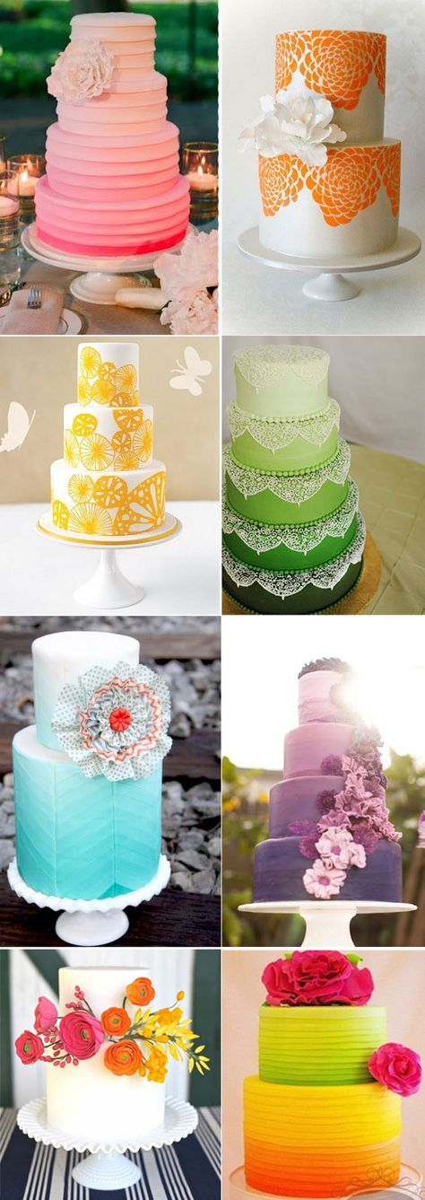 Despite not the biggest fan of colorful wedding palettes, a few of these cakes are just irresistible!