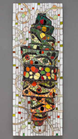 Twisting mosaic wall sculpture by Wyss Design