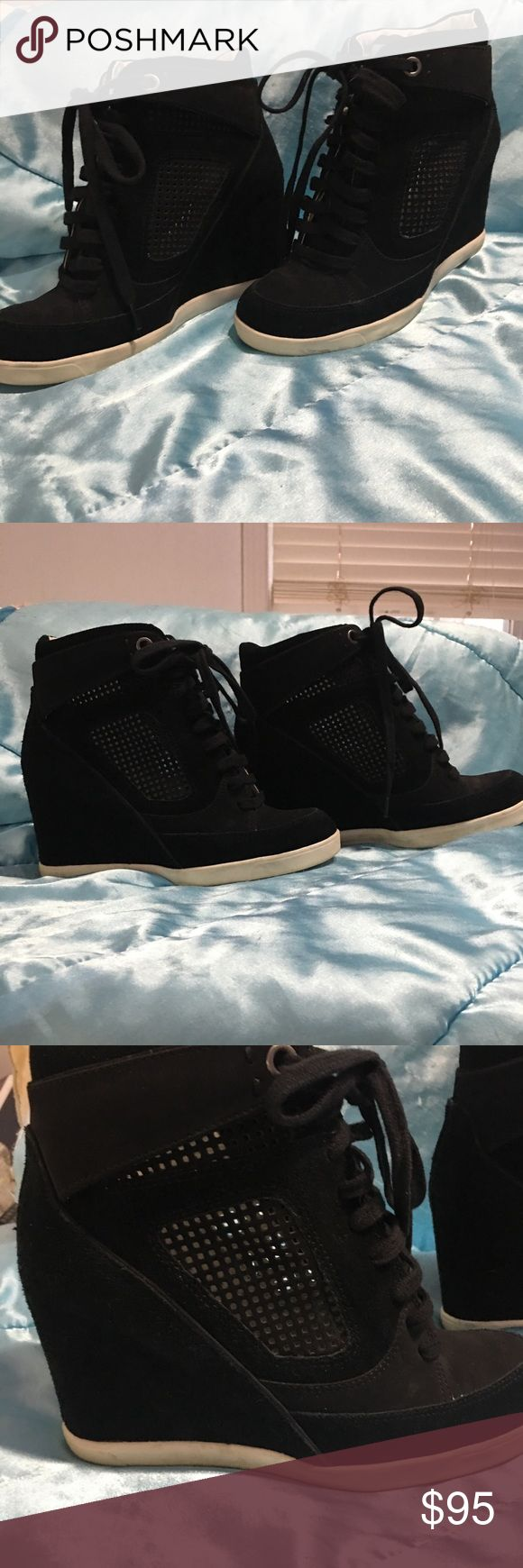 French connection stacked lace up booties Gorgeous French connection stacked lace up booties in a suede feel with airpass through design iridescent tongue that shows through laces French connection Shoes Ankle Boots & Booties