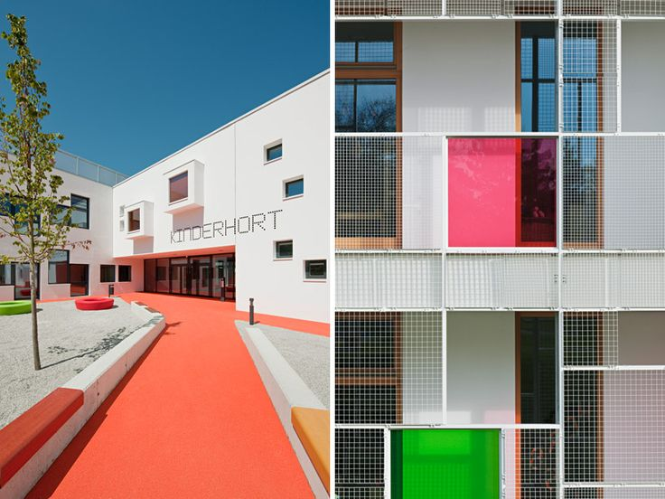 this school's pixelated envelope features bold colors to outwardly project and highlight special spaces for children including play areas and window box seats.