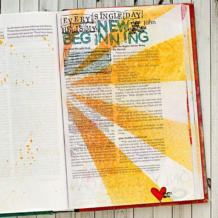 photos and process John 1-3 art worship art journaling in a Bible   Illustrated Faith