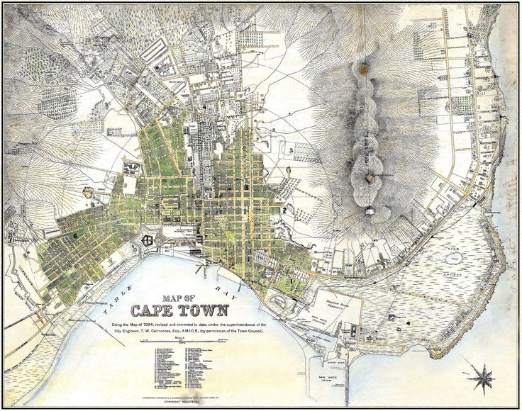 Map of Cape Town 1891. | VIEW ORIGINAL.........for a fascinating look at what the city looked like 122 years ago. Virtually all the well known streets are there albeit, sparsely populated.. Today's residential areas were mostly farms and small-holdings.. Unfortunately a small area on the right (Sea Point) has been damaged and the 'repair job' could have been better, but still gives a good indication of the lay of the land.