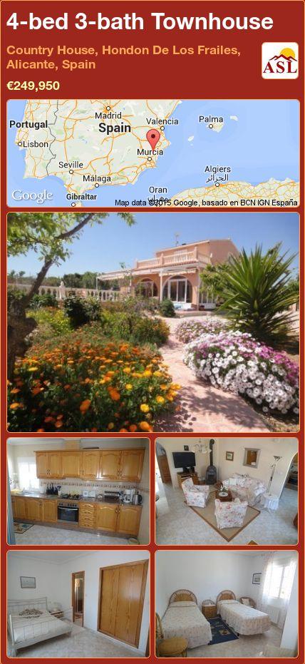 4-bed 3-bath Townhouse in Country House, Hondon De Los Frailes, Alicante, Spain ►€249,950 #PropertyForSaleInSpain