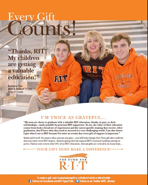 RIT Annual Giving Ad - Every Gift Counts - family