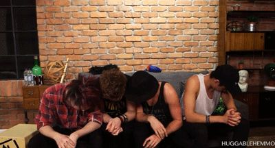 Calum is by himself and I want to laugh but I feel that would be wrong.