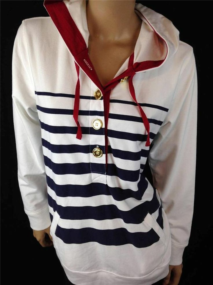 ONLY $34!! QVC SUSAN GRAVER Women's Nautical White Button Down Sweatshirt Hoodie Sz M Medium