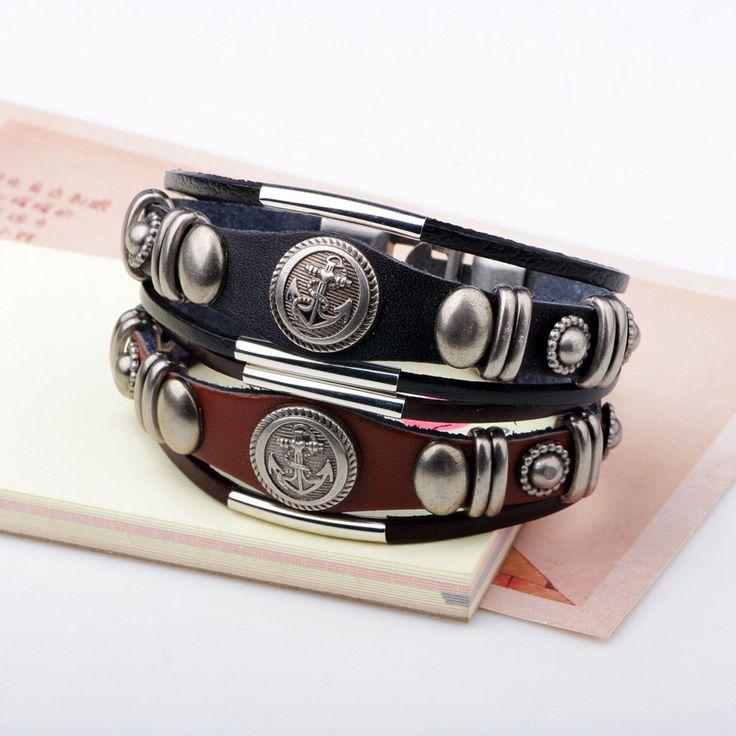 Punk Men's Bracelet Vintage Leather Anchor Bangle Chain Bracelet