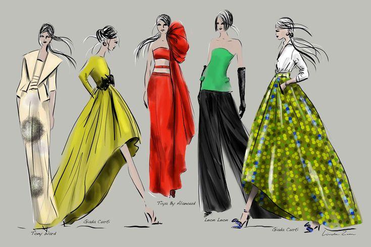 Amazing collection skirts designed by Giada Curti - Italian Fashiondesigner - sketch by Linda Zoon Arab Fashion Week 2015 / Dubai Illustrations by Linda Zoon
