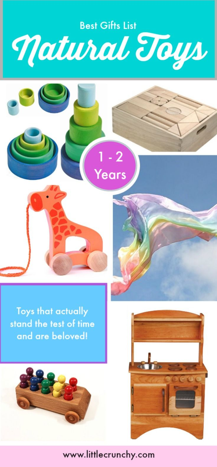Natural Toys that make great gifts for holidays or birthdays for boys or girls ages 1 - 2 years old. Waldorf - Natural Parenting - Crunchy Parenting - Attachment Parenting - EcoFriendly Toys - Gift Ideas For Baby Toddlers.