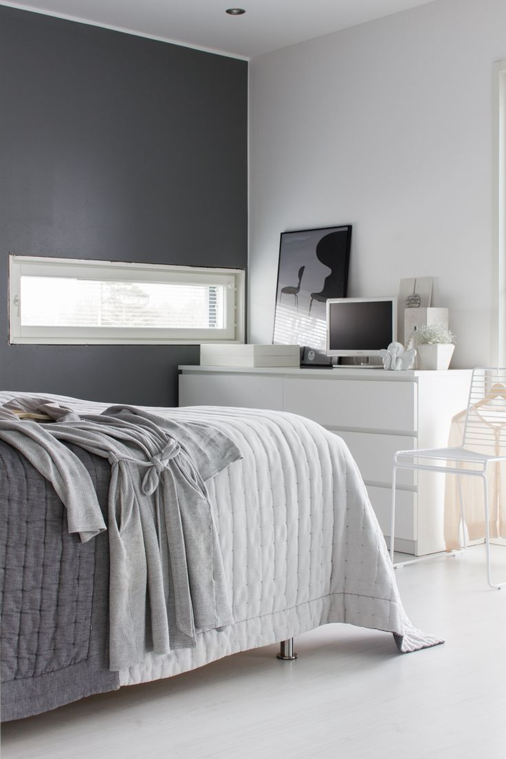 Black and white and grey bedrooms -  Love The Narrow Window In This Grey Bedroom