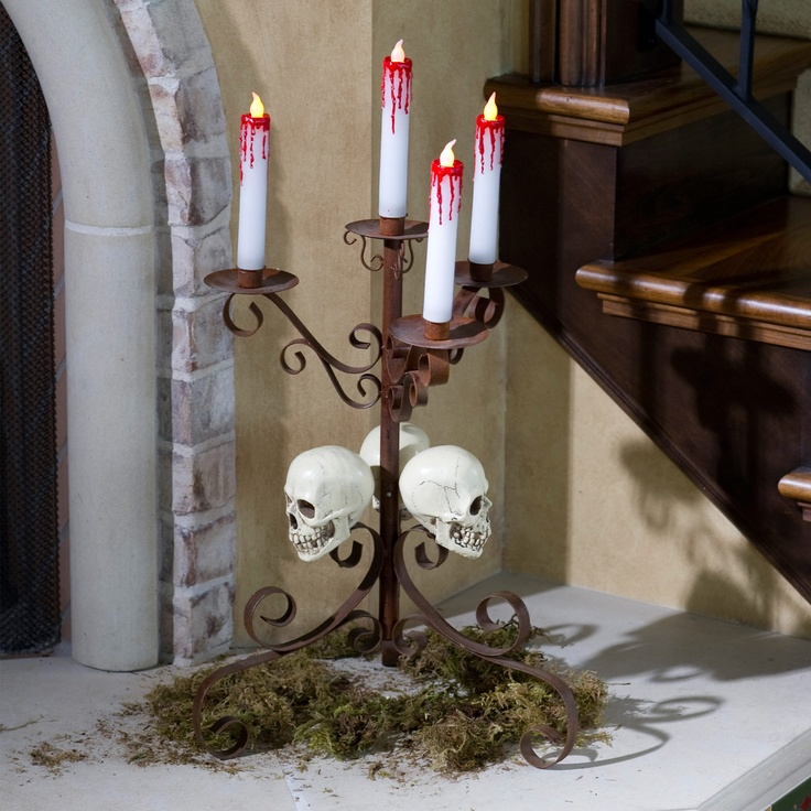 create a bone chilling display with these tabletop skull candle holder halloween vampirehalloween - Vampire Halloween Decorations