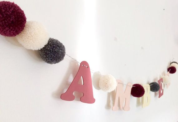 Personalised name garland pom pom bunting with by BrightIslandUK