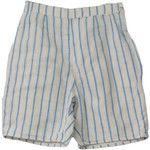 1950's Vintage Missing Label Shorts - 50s -Missing Label- Womens off white and blue vertical stripe print cotton high waist new look shorts with side button/metal zip closure, darted rear and inset right hip pocket.