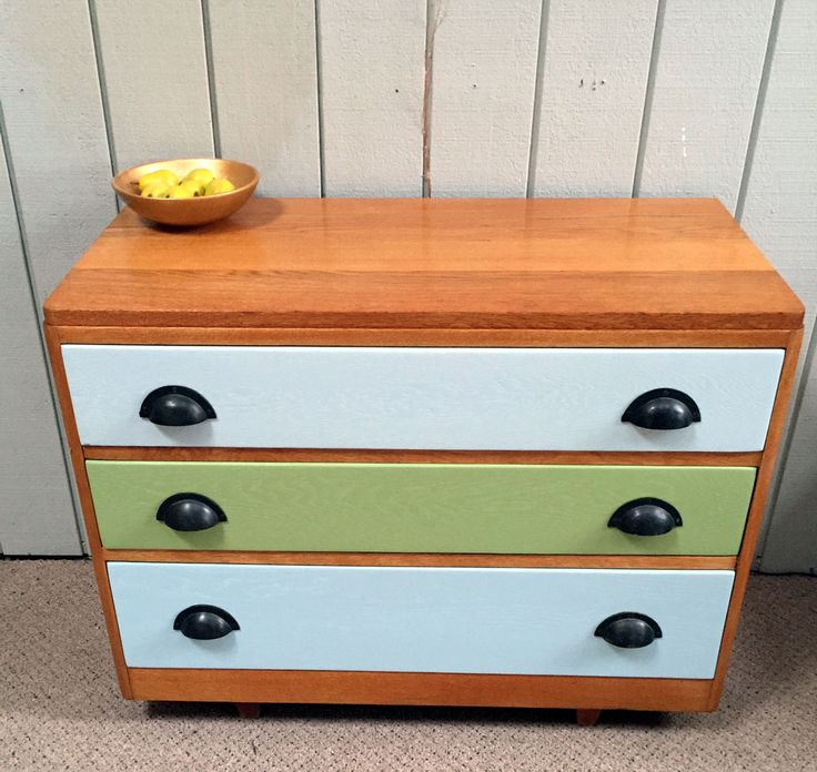 Oak Drawers with Pastels 660h x 830 x 400