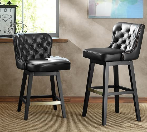 Caldwell Tufted Leather Swivel Barstool Pottery Barn pertaining to Leather Swivel Bar Stools
