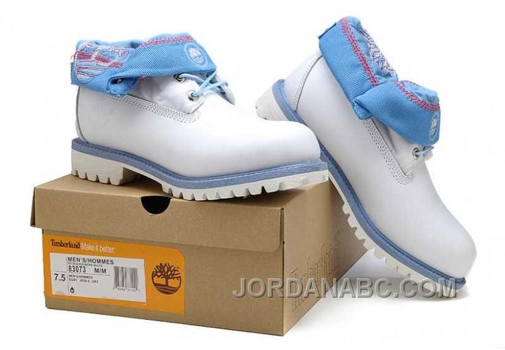 http://www.jordanabc.com/timberland-roll-top-light-blue-white-boots-for-mens-on-sale.html TIMBERLAND ROLL TOP LIGHT BLUE WHITE BOOTS FOR MENS ON SALE Only $103.00 , Free Shipping!
