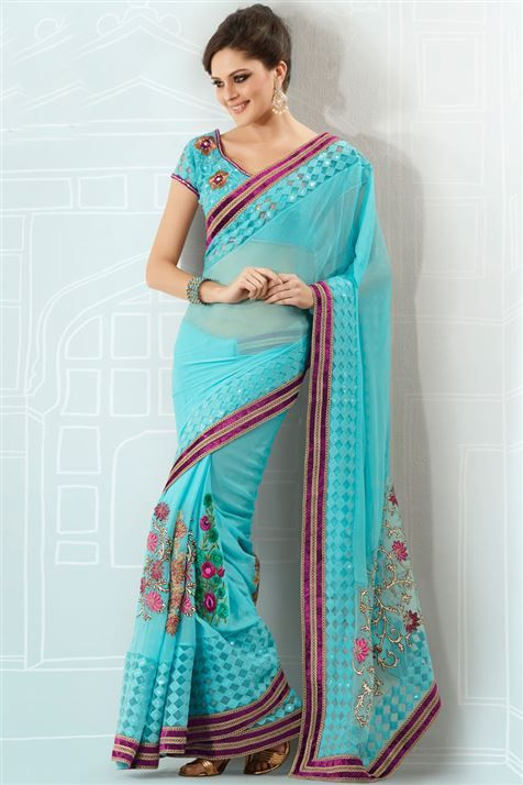 Shop this Sky Blue Georgette embroidered Saree @ FLAT 50% off. No coupon code required.