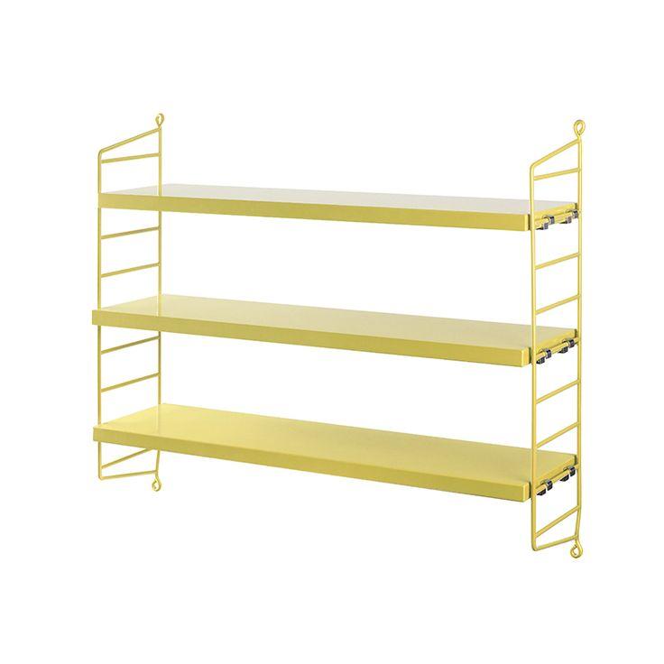 Dimensiones: 60 x 15 x 50 cm. (ancho x fondo x altura). Materiales: estructura en acero recubierto plástico o plástico (plex), estantes en madera chapada o lacada. Diseñador:Nisse Strinning. Marca:String.