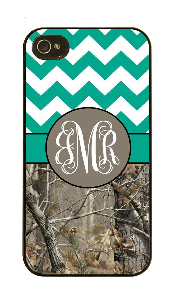 Monogram Teal Chevron and Camo Rubber Case Fits iPhone 4/4S iPhone5/5S/5C Samsung Galaxy S3/S4 on Etsy, $12.59