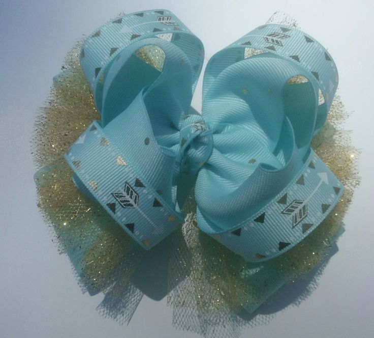 Girls Boutique Hair Bow, Aqua Blue Hair Bow, Stacked Hairbow, OTT Hair Bow, Toddler Hair Bow, Tulle Hair Bow by JazzyandSassyDesigns on Etsy