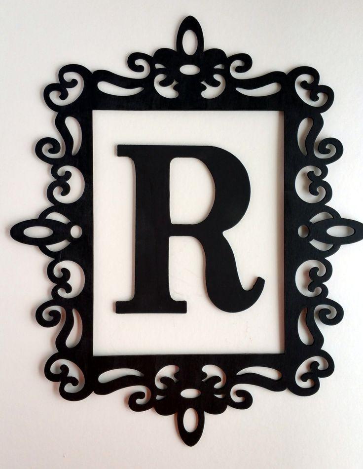 Black ornate frame large letter wall decor framed for Black wall letters