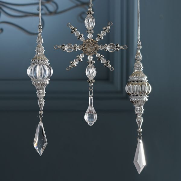 3-Piece Set Vintage Crystal Drop Ornaments by Lenox <3