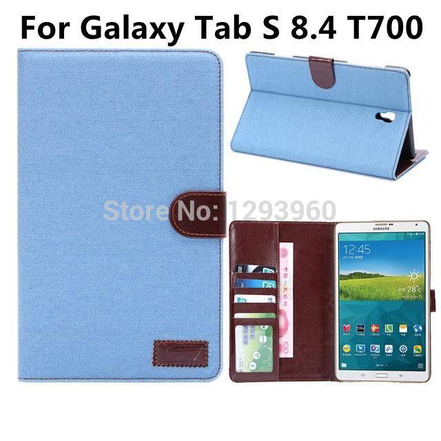 Джинсы чехол Для Samsung Galaxy Tab S 8.4 T700 джинсы узор ткани случае с слот кожа карта бесплатная доставка