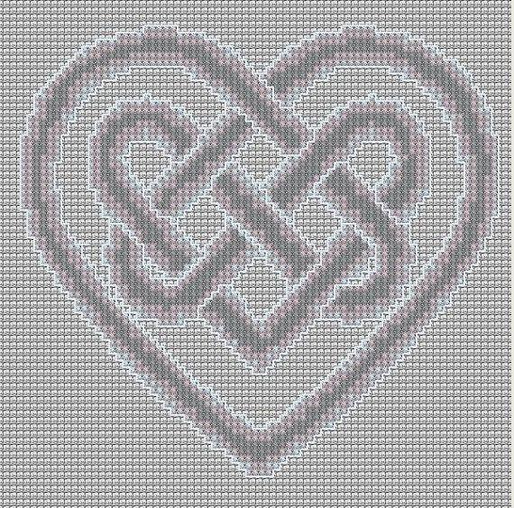 Cross Stitch Pattern Heart Knot PDF Emailed Craft Celtic Symbol Irish Unity Love Wedding Handfasting