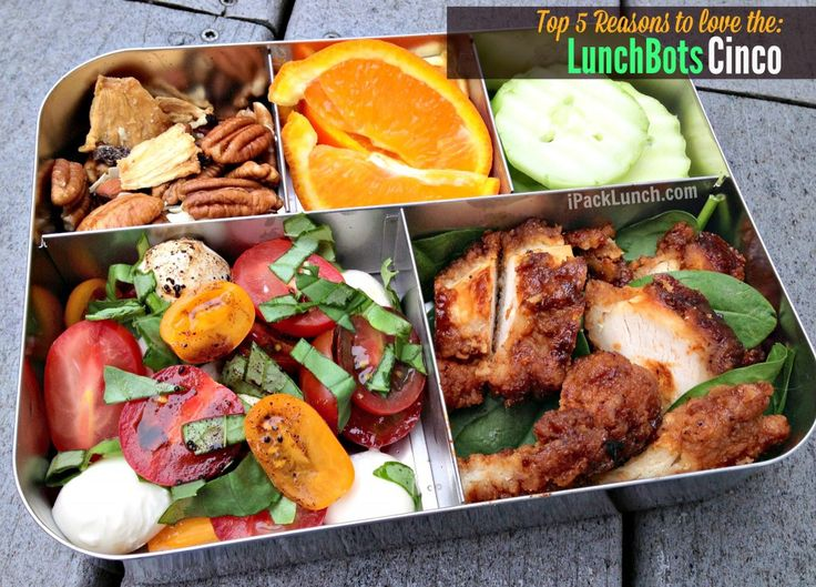 In the LunchBots Cinco: Caprese salad with just a splash of olive oil and balsamic Boneless BBQ Chicken on spinach (yes, we eat it cold) Cucumber slices Minneola Orange wedges Pecan and dried fruit mix