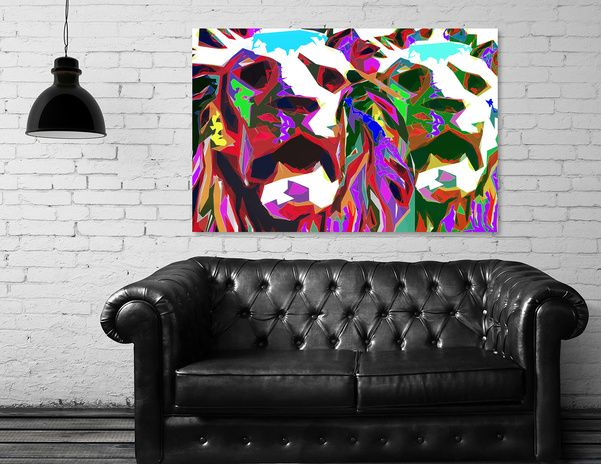 Discover «Two lions», Exclusive Edition Canvas Print by Nannie van der Wal - From 45€ - Curioos