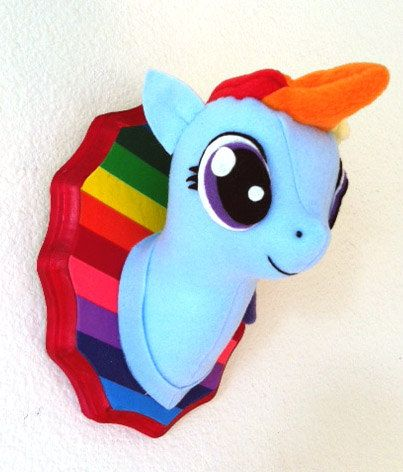 Small Rainbow Dash Faux Taxidermy- made to order. $25.00, via Etsy.