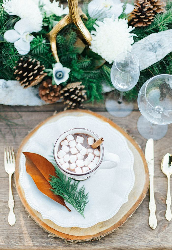 Rustic Wood Round Place Settings with Hot Chocolate