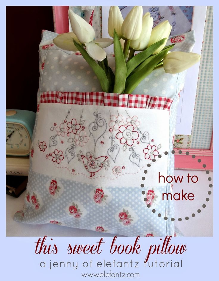 Jenny of ELEFANTZ: TUTORIAL - a Rosedaisy Book Pillow! Purchase the embroidery design or make your own - the project is a free Tutorial