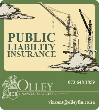 Public Liability insurance protects your construction company against unforeseen incidents while in the process of constructing a building.  Contact us for more information or a quote for your next project!  celri@olleyfin.co.za