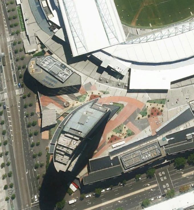 Melbourne Docklands Stadium Concourse. Renovation of Public Realm Landscape for City of Melbourne 2008-9. Carlo Missio