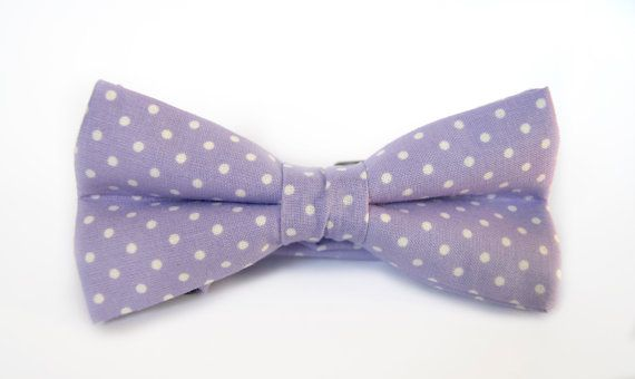 Men's bow tie purple lilac with white polka dots, handmade pretied bowtie by Minute Papillons