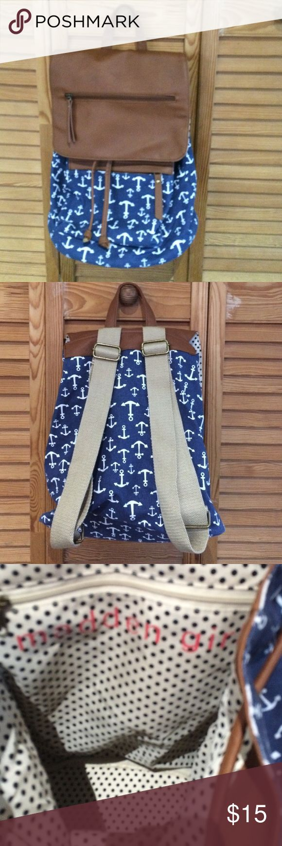"""Cute anchor backpack Excellent condition blue/white anchor print backpack with faux brown leather flap. Very clean inside. Used 1x. Approx 10""""w X 15""""h Madden Girl Bags Backpacks"""
