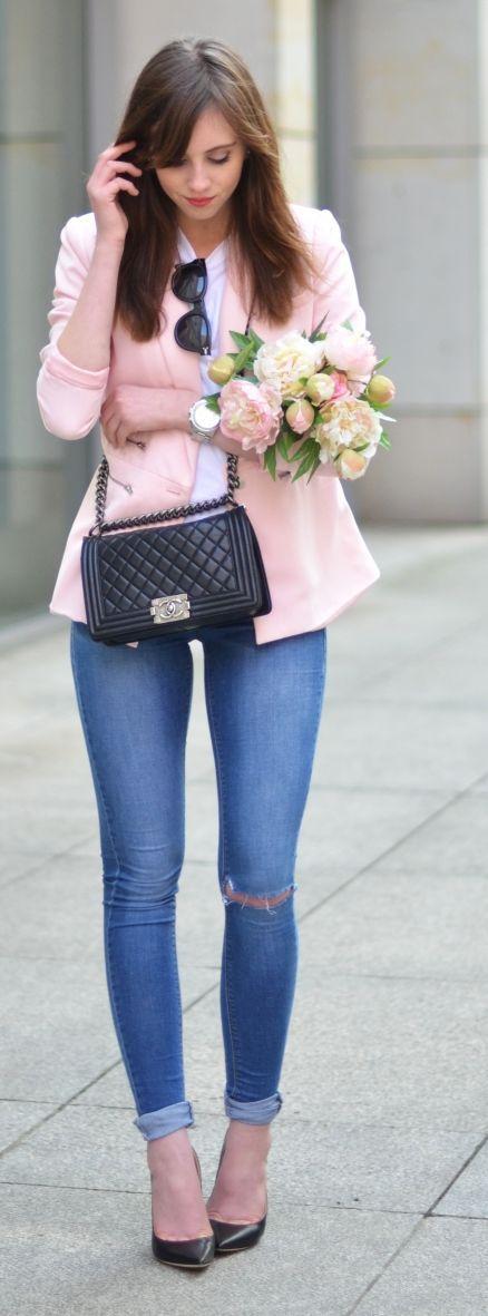 Peach Blazer Outfit Idea by Vogue Haus