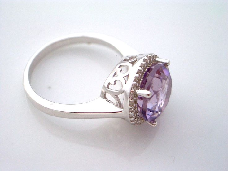 14k WHITE GOLD and 925 Natural Rich Purple Brazilian AMETHYST Gemstones and Cubic Zirconia, Royal Designer Ring Sz 7.5 Jewellery!! by AmeogemPreciousJewel on Etsy
