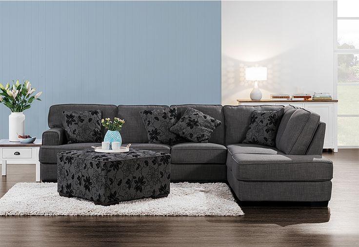 Shale Fabric Corner Chaise Suite | Super Amart