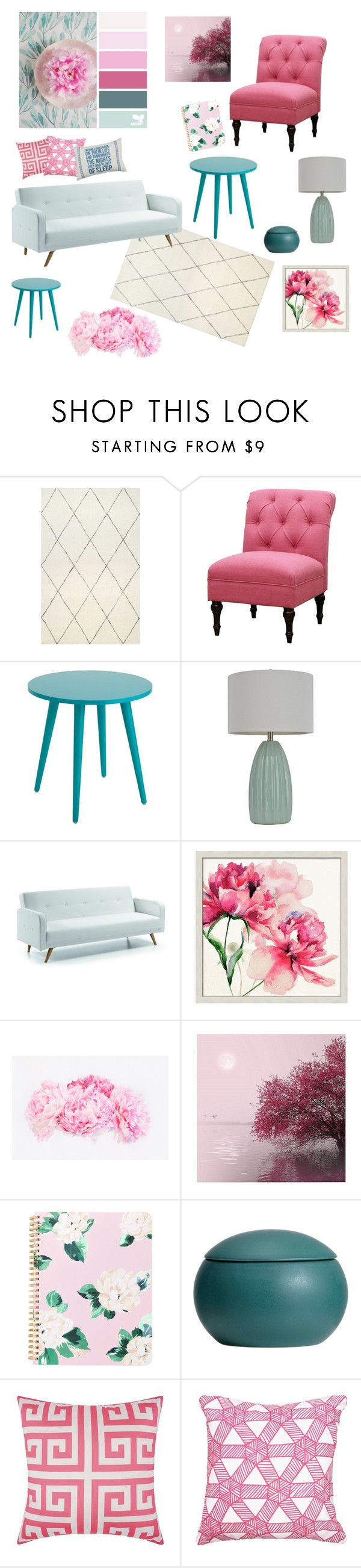 """""""Gum Drop"""" by oliviakopp ❤ liked on Polyvore featuring Threshold, Décor Therapy, Pottery Barn and Mina Victory"""