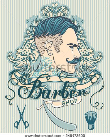 Retro Barber Shop Vintage Template. Vector illustration with man's profile.
