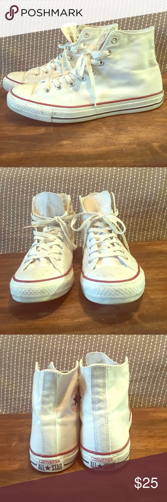 Converse High Top White Chuck Taylor's Light worn White High Top Chuck Taylors. Converse Shoes Sneakers
