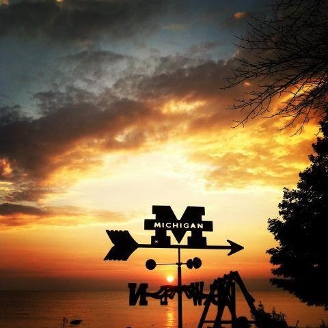 Two of my favorite Michigan things, the M and sunsets!